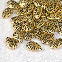 Бусина металлическая каплевидная Завитки 20*15*7мм (золото)