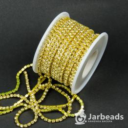 Стразовая цепочка желтая 3мм ss12 (желтый) отрезок 10см