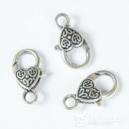 Замочек лобстер крупный Сердца 25*12*5мм (серебро)
