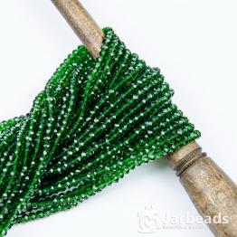 Кристаллы рондель 3*4мм зеленый прозрачный лесная зелень 140штук арт.14