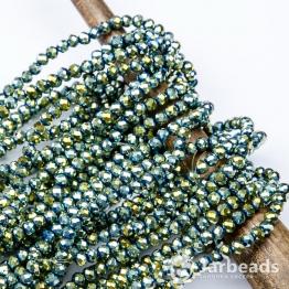 Кристаллы рондель 4*5мм зеленый бензин 144штуки арт.108