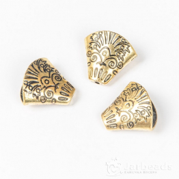 Колпачки литые приплюснутые Конусы с узором вн.d.18*9мм (золото) 2шт