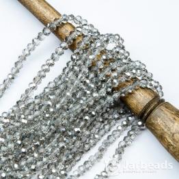 Бусины-кристаллы рондель 2*3мм серый прозрачный блестящий 140штук арт.97