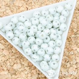 Бусина пластиковая со стразами 6мм (белый) 10штук