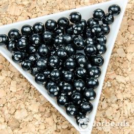 Бусина пластиковая со стразами 6мм (черный) 10штук