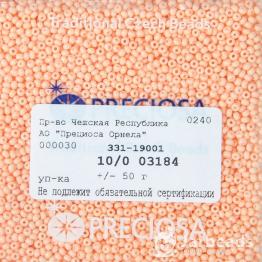 Бисер PRECIOSA 10/0 (50гр) 1сорт цвет: оранжевый керамика пастель арт.03184