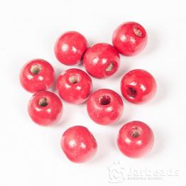 Бусины деревянные круглые 12*11мм (красный) 10шт