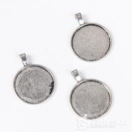 Сеттинг круглый 4*4,5см без декора для кабошона d.25мм (серебро)