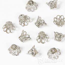 Колпачки разжимные ажурные с лепестками 12*8мм (серебро) 2шт