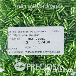 Стеклярус PRECIOSA (50гр) цвет зеленый огонек арт.57430twisted