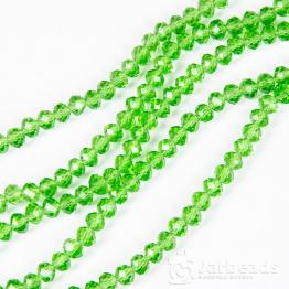 Кристаллы рондель 5*6мм зеленый прозрачный 10штук