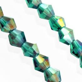 Кристаллы биконус 4*4мм морская волна с отливом 118штук арт.7105
