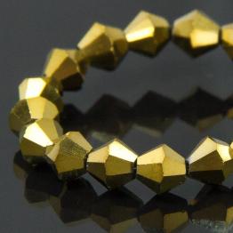 Кристаллы биконус 4*4мм золото 115штук арт.7085