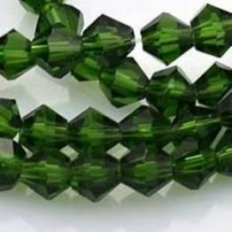 Бусины биконусы 6*6мм зеленый прозрачный 50шт арт.29298