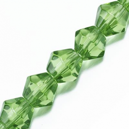 Кристаллы биконус 6*6мм зеленый лайм прозрачный 50штук арт.29293