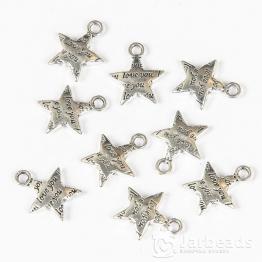 Подвеска металлическая Звезда с надписью LOVE 1,3*1,5см (серебро)