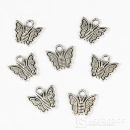 Подвеска металлическая Бабочка маленькая 1,3*1,3см (серебро)