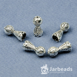 Колпачки литые Конусы с бусиной вн.d.6мм (серебро) 2шт