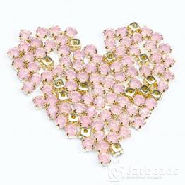 Стразы в золотых цапах 6мм (опал розовый) 10 штук