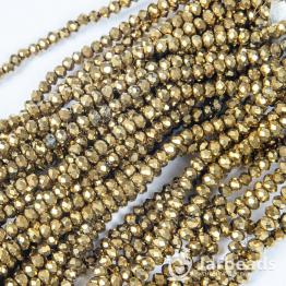 Кристаллы рондель 2*3мм золото 135штук арт.101