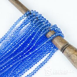 Бусины рондели 2*3мм синий светлый прозрачный 140шт арт.9