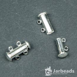 Замочек магнитный Трубочка 15мм 2 кольца (серебро хром)
