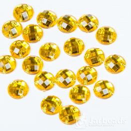Стразы пришивные 8мм круглые (желтое золото) 10шт