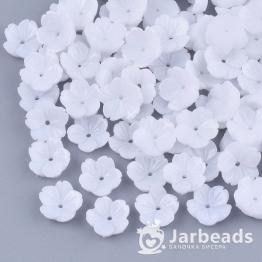 Бусина-цветок смола 10*10,5*3,5мм (белый) 10шт X-RESI-T040-031B