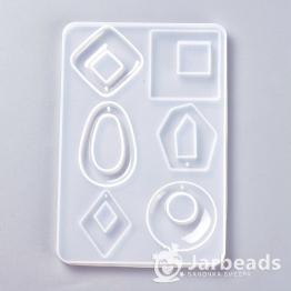 Молд для смолы Прямоугольный №5 на 6 кабошонов с отверстием DIY-F031-01