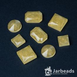 Набор кабошонов из смолы в ассортименте (желтый с блестками) 8штук