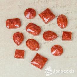 Набор кабошонов из смолы в ассортименте (красный с блестками) 12штук