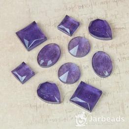 Набор кабошонов из смолы в ассортименте (фиолетовый с блестками) 10штук