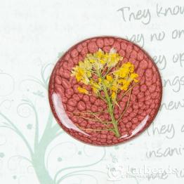 Кабошон из смолы Круг с цветком 40мм (красный)