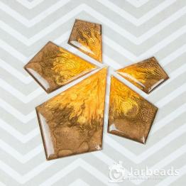 Набор кабошонов из смолы Ромбы (коричневый с золотом) 5штук