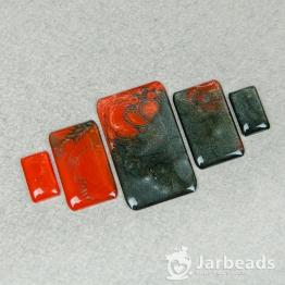 Набор кабошонов из смолы Прямоугольники (красный с черным) 5штук