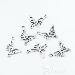 Коннектор Ажурная бабочка 16*20мм (серебро)