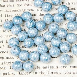 Бусины стеклянные PRECIOSA круглая 8мм (голубой/белый) 10штук