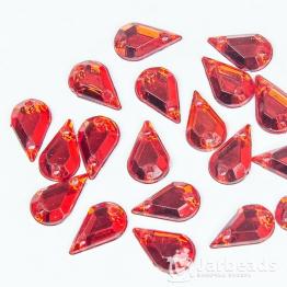 Стразы пришивные каплевидные 6*10мм (красный) 10шт
