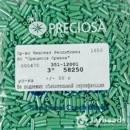 Стеклярус PRECIOSA (50гр) цвет зеленый жемчужный арт.58250