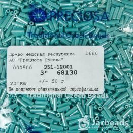 Стеклярус PRECIOSA (50гр) цвет бирюзовый жемчужный арт.68130