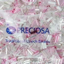 Микс стекляруса PRECIOSA (50гр) цвет серебрянный и розовый арт.150027