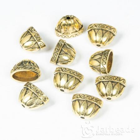 Колпачки литые приплюснутые Чаша вн.d.12,5x18,5мм золото 2шт