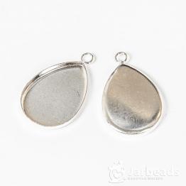 Сеттинг капля без декора для кабошона 18*25мм (серебро хром)