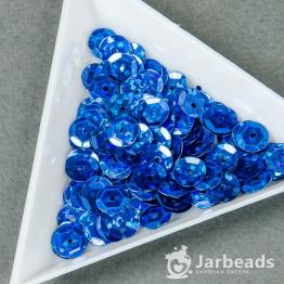 Пайетки круглые голографик с гранями 7мм (синий) 10гр