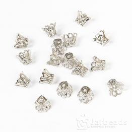 Колпачки разжимные ажурные с лепестками 7*9мм (серебро) 2шт