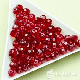 Кристаллы 5*6мм красный темный прозрачный 10штук