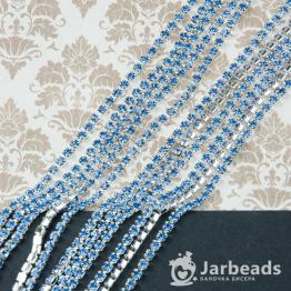 Стразовая цепочка серебряная 2,6мм ss8 (синий светлый) отрезок 10см