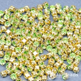 Стразы в золотых цапах 4мм (салатовый) 100 штук