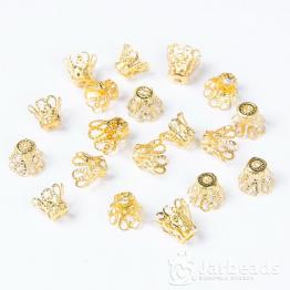 Колпачки разжимные ажурные с лепестками 7*9мм (золото) 2шт
