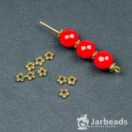 Разделители для бусин Диск 5 шариков 3,5мм (золото) 10шт